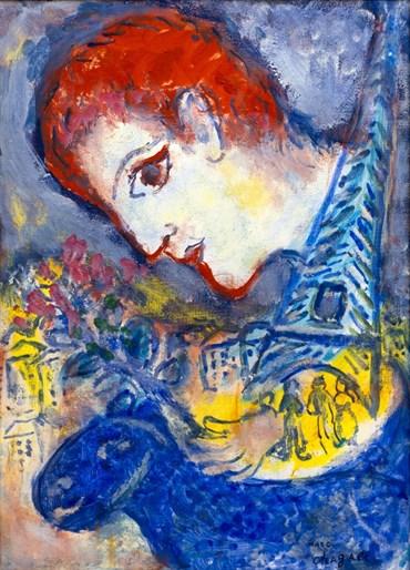 , Marc Chagall, Le peintre à la Tour Eiffel, 1970, 49863