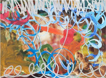 , Jeff Koons, Waterfall Couple (Dots) Blue Swish with Red Stroke, 2009, 34200