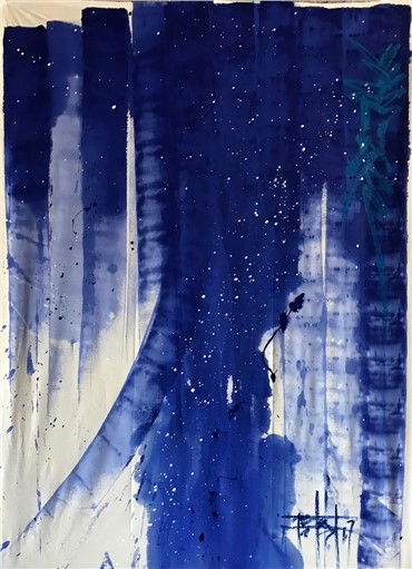 Painting, Firouz Farmanfarmaian, Poolside Part II, 2017, 8509