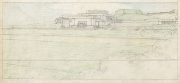 , Frank Llyod Wright, Elevation View; Barnsdall Theater. Olive Hill, Los Angeles, CA, 1920, 47949