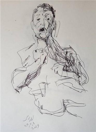 Drawing, Daryoush Hosseini, Self-portrait, 2019, 36609
