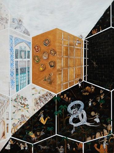 Painting, Homa Bazrafshan, Construction of Khavarnaq, 2011, 48675
