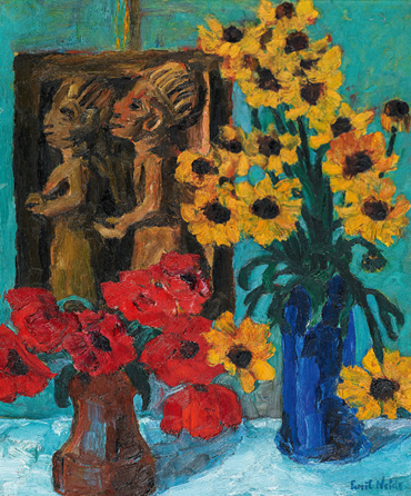 , Emil Nolde, A Still Life of Flowers with a Wooden Sculpture, 1928, 47652