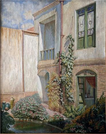 Painting, Jafar Petgar, Backyard of Ziaapour House, 1943, 6888