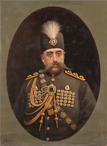 , Mohammad Ghaffari, Portrait of Muzaffar al-Din Shah Qajar, 1901, 19377