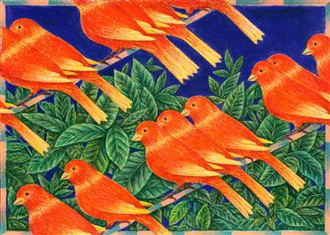 Painting, Mahmoud Saki, Repetitive Canaries, 2018, 36951